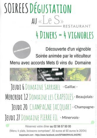 Soirée dégustation avec le Domaine Pierre Fil au \Le S\, restaurant du Spa Marin Pléneuf-Val-André