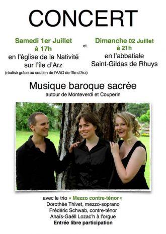 Concert Baroque Sacré par le Trio Mezzo Contre-Ténor à Saint-Gildas-de-Rhuys ST GILDAS DE RHUYS